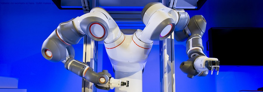 An Image of Multi Armed Collaborative Robot.