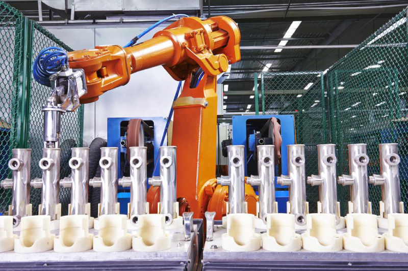 Image Showing The Cobots Helping To Transporting In An Industrial Sector.